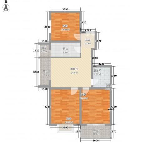 北方三角洲3室1厅1卫1厨91.20㎡户型图