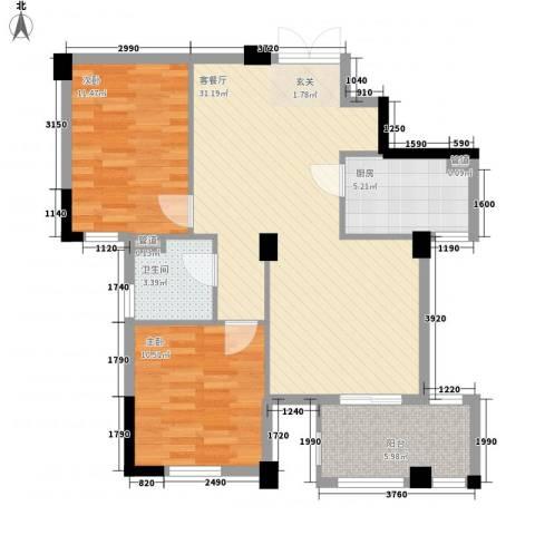 宁馨园2室1厅1卫1厨68.12㎡户型图