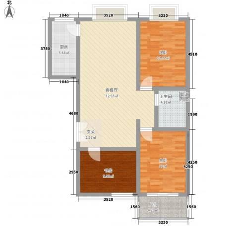 北方三角洲3室1厅1卫1厨93.60㎡户型图