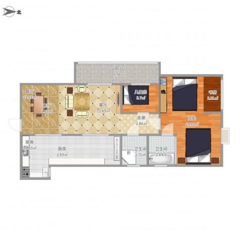 凤凰花园2室1厅2卫1厨90.00㎡户型图