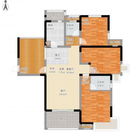 东方今典天汇中心3室1厅2卫1厨168.00㎡户型图
