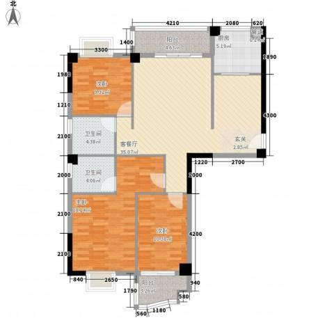 福湾新城秋月苑3室1厅2卫1厨95.00㎡户型图
