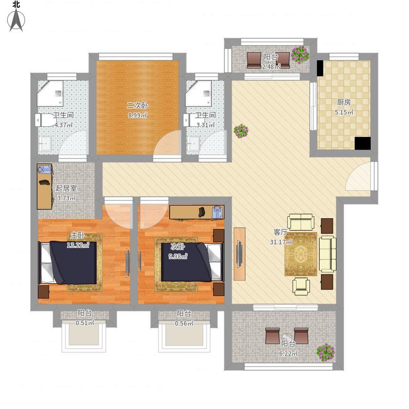 瀚河苑128方三室两厅一厨两卫
