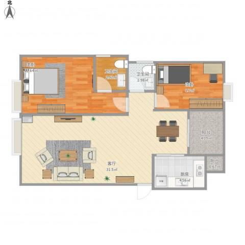 汇景新城2室1厅2卫1厨92.00㎡户型图