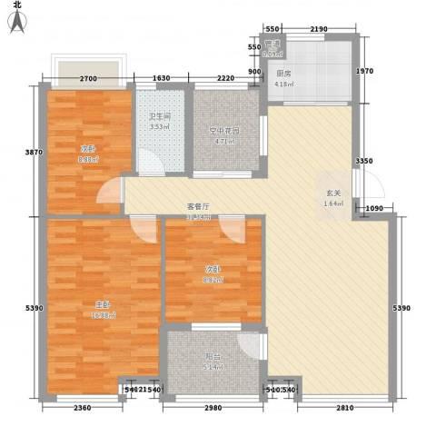 金水童话名苑3室1厅1卫1厨83.58㎡户型图