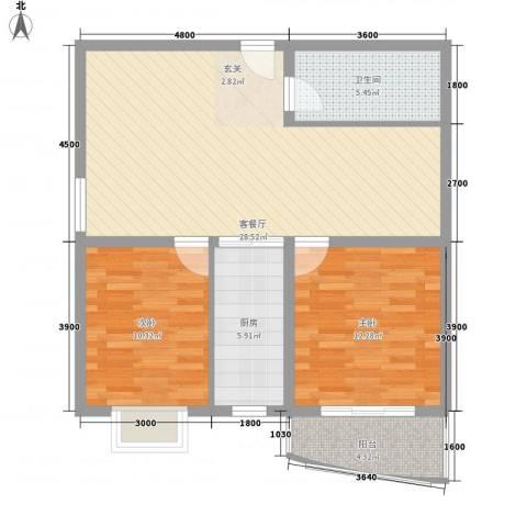 裕峰花园2室1厅1卫1厨94.00㎡户型图