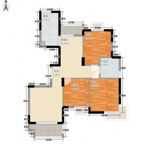 欧雅花园3室1厅1卫1厨115.00㎡户型图