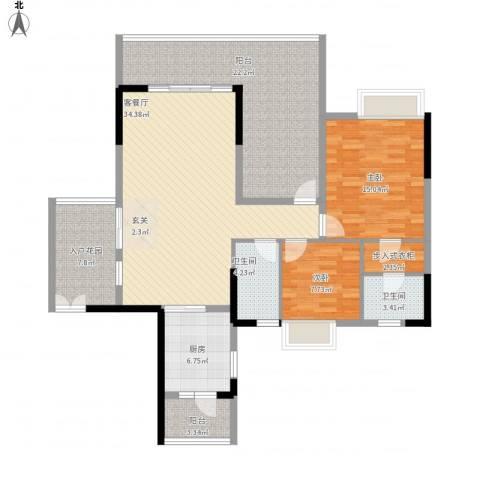 鹏达・丽水湾2室1厅2卫1厨152.00㎡户型图