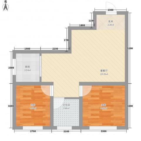 中央湖畔2室1厅1卫1厨67.00㎡户型图
