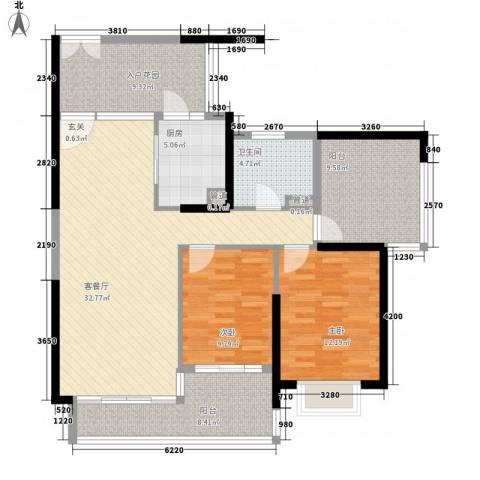 莲湖四季豪园2室1厅1卫1厨107.00㎡户型图