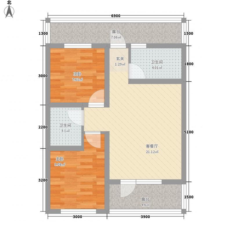 中央湖畔69.41㎡中央湖畔户型图湖景高层D户型2室2厅1卫户型2室2厅1卫