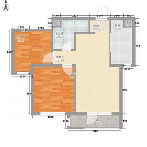 万科樱花园2室1厅1卫1厨79.00㎡户型图