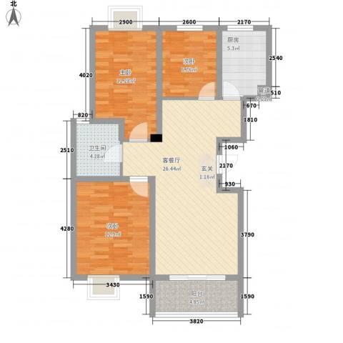 瘦西湖名苑3室1厅1卫1厨104.00㎡户型图