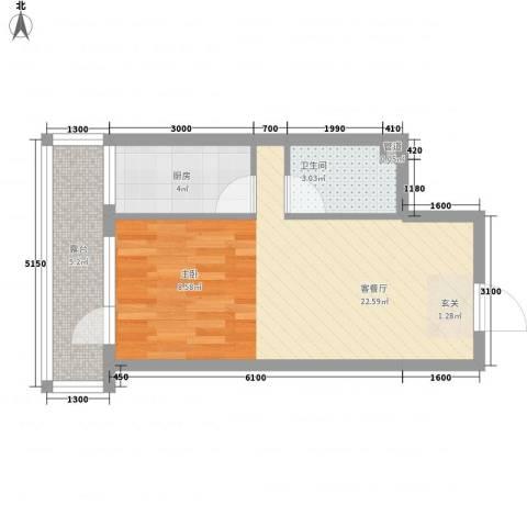 中央湖畔1厅1卫1厨41.00㎡户型图