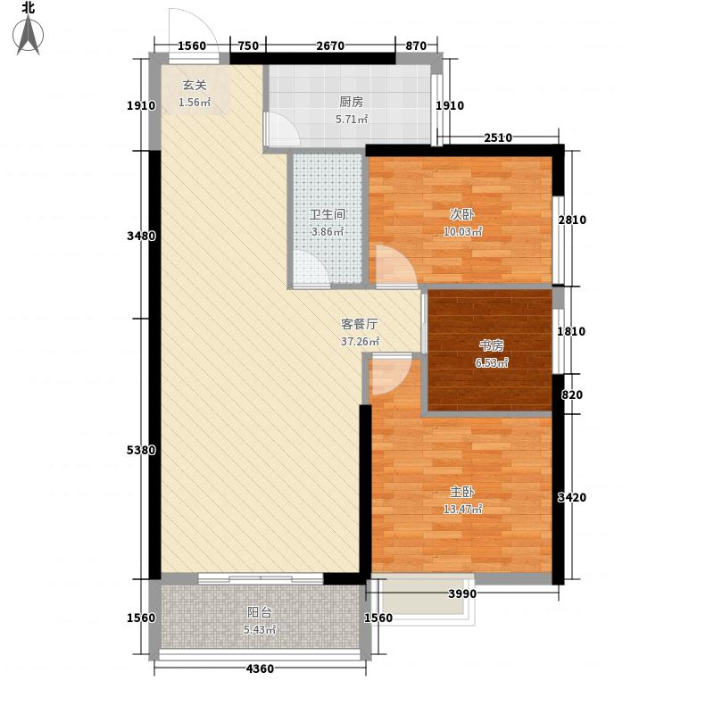 中天金海岸115.00㎡户型3室