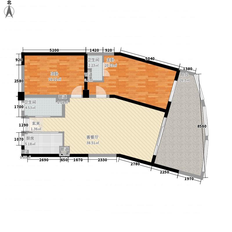 碧桂园十里银滩116.65㎡碧桂园十里银滩户型图5号楼标准层B1户型2室2厅1卫1厨户型2室2厅1卫1厨