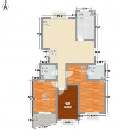 阳光柳岸3室1厅2卫1厨137.00㎡户型图