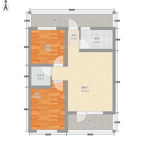 中央湖畔2室1厅1卫1厨84.00㎡户型图