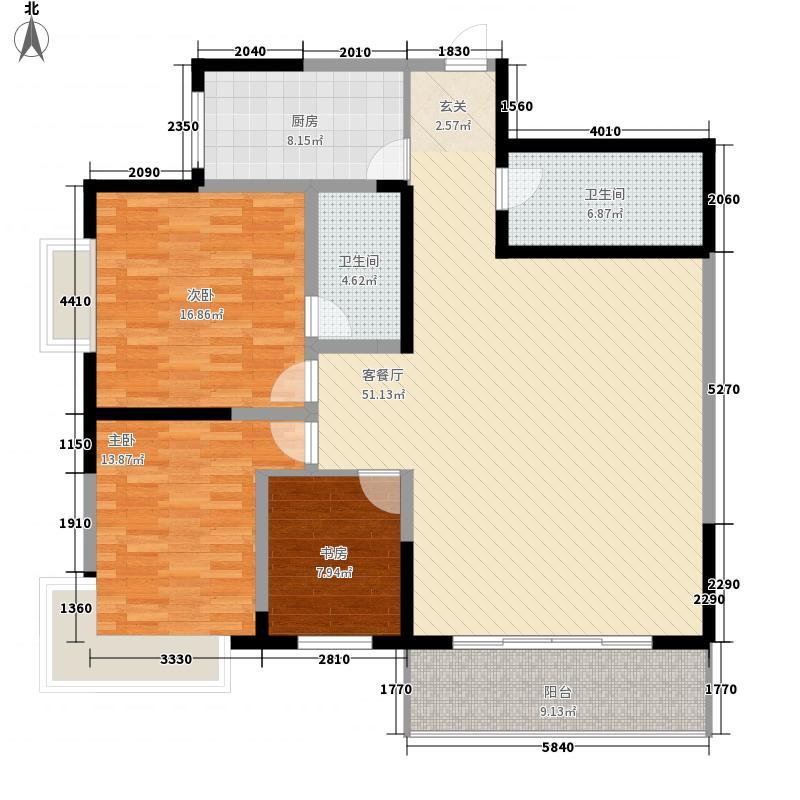 峰景俊园163.88㎡户型3室2厅1卫1厨