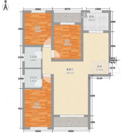 上城水岸3室1厅2卫1厨120.00㎡户型图