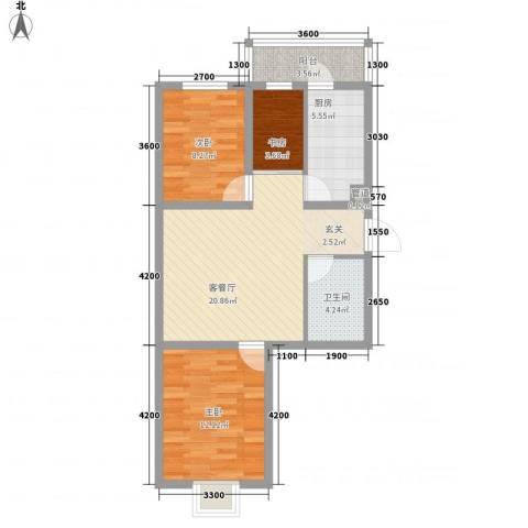 阳光新嘉园3室1厅1卫1厨78.00㎡户型图