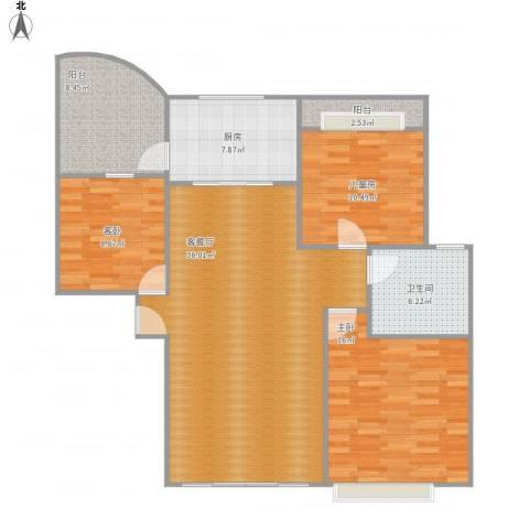 如皋碧桂园3室1厅1卫1厨129.00㎡户型图