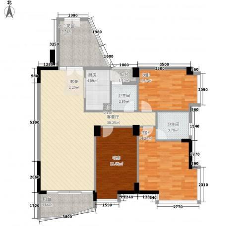 星河传说旗峰天下紫薇苑3室1厅2卫1厨102.00㎡户型图