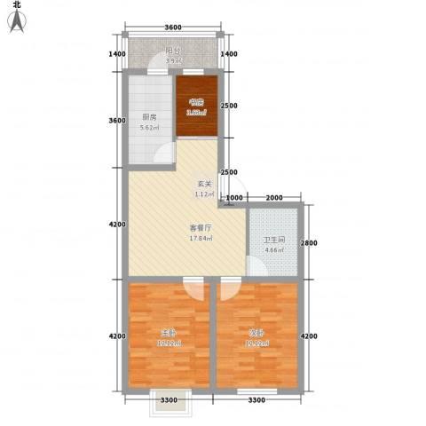 阳光新嘉园3室1厅1卫1厨85.00㎡户型图