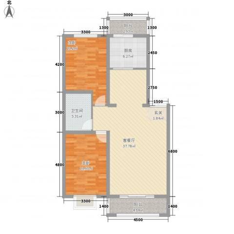 阳光新嘉园2室1厅1卫1厨110.00㎡户型图