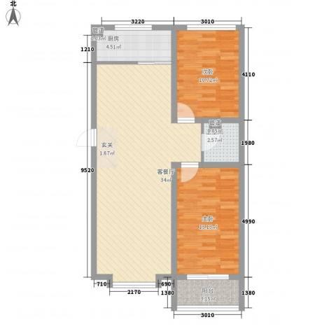 东上金地2室1厅1卫1厨97.00㎡户型图