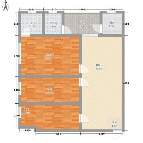 鸿财大厦3室1厅2卫1厨106.00㎡户型图