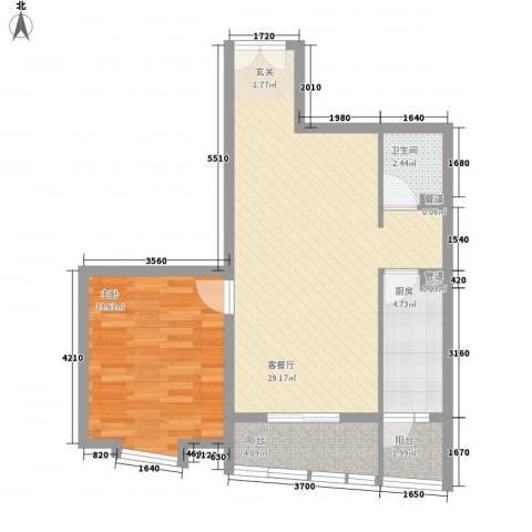 领地一期1室1厅1卫1厨81.00㎡户型图