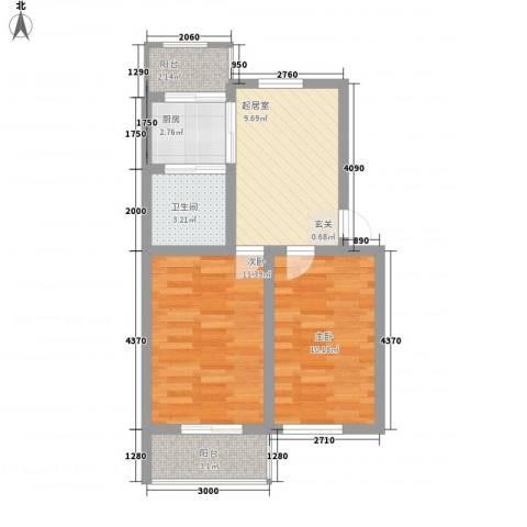 万科魅力之城2室0厅1卫1厨63.00㎡户型图