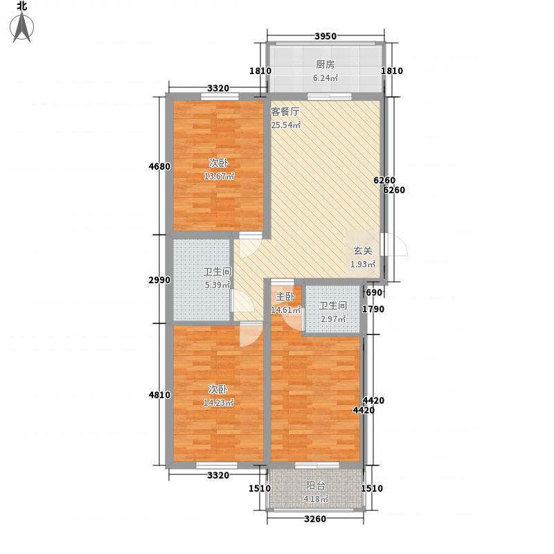 莲花花园33户型3室2厅2卫1厨