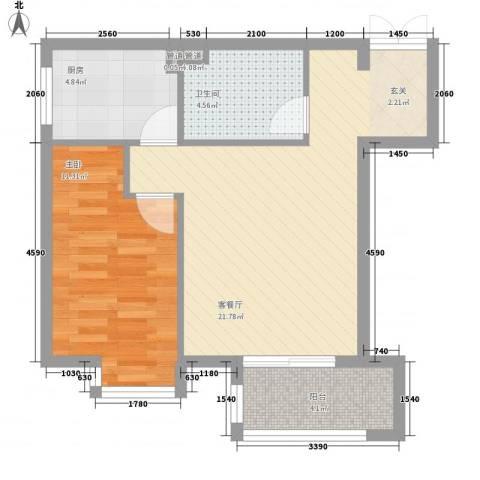 领地一期1室1厅1卫1厨67.00㎡户型图