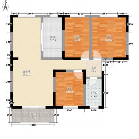 春江花园3室1厅1卫1厨97.38㎡户型图