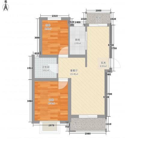 屿后北里2室1厅1卫1厨65.00㎡户型图