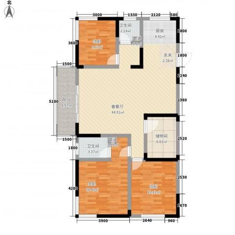 春江花园3室1厅2卫0厨117.90㎡户型图