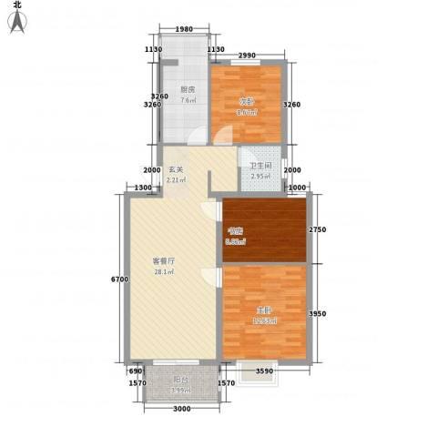 屿后北里3室1厅1卫1厨85.00㎡户型图