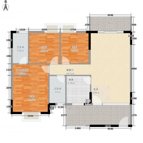 塘厦东港城3室1厅2卫1厨108.47㎡户型图