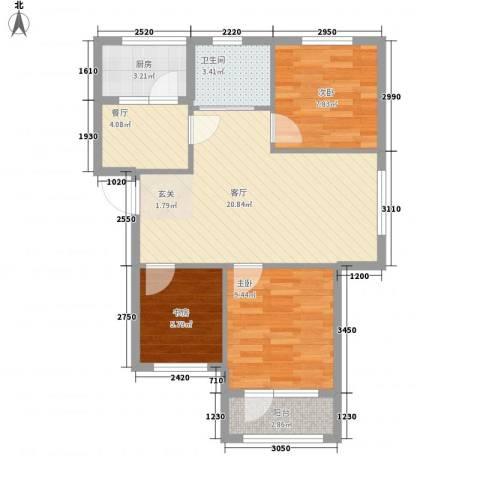 万隆达金领地3室2厅1卫1厨85.00㎡户型图