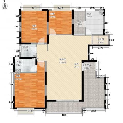塘厦东港城3室1厅2卫1厨127.63㎡户型图