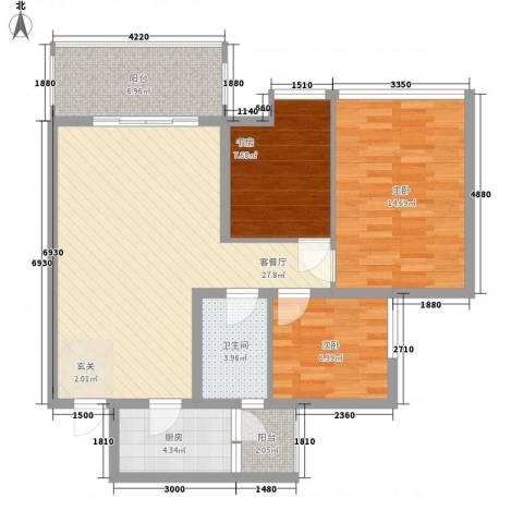 中福城3室1厅1卫1厨106.00㎡户型图