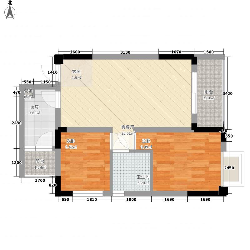 时代欣城66.00㎡5号楼B4户型2室2厅1卫1厨