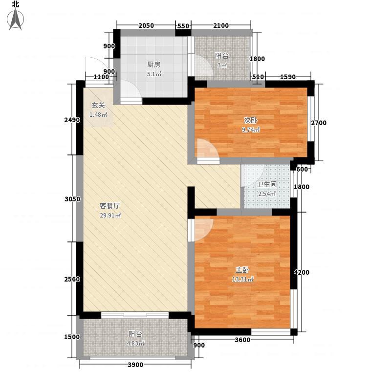 春江花园1#楼高层C户型2室2厅1卫1厨