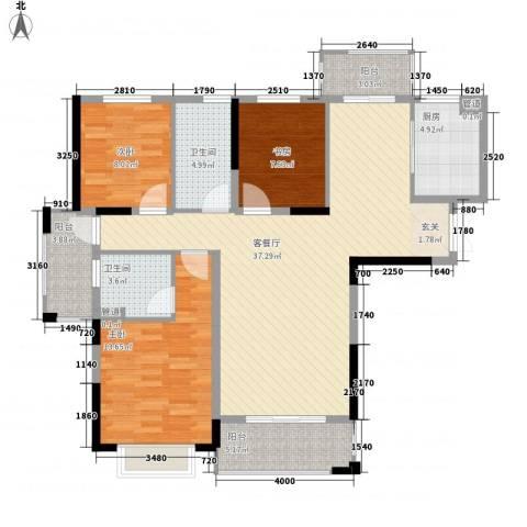 银亿海尚广场3室1厅2卫1厨105.00㎡户型图