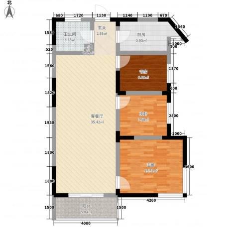 春江花园3室1厅1卫1厨89.40㎡户型图