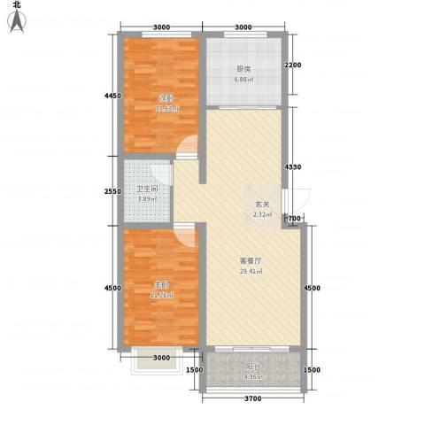 青橙时代2室1厅1卫1厨101.00㎡户型图