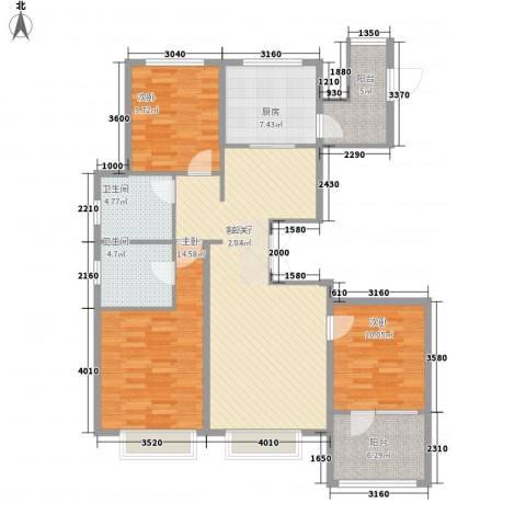 博辉万象城3室1厅2卫1厨137.00㎡户型图