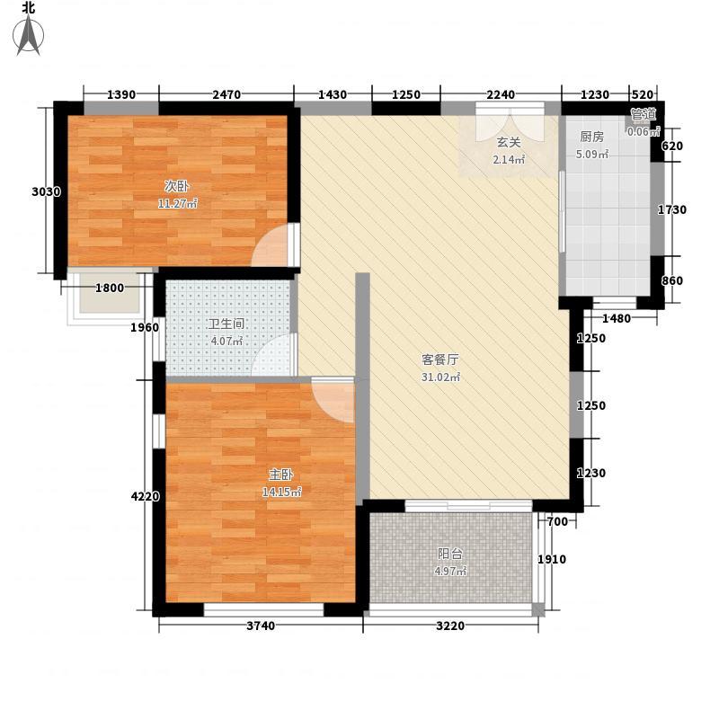 商业大厦100.00㎡商业大厦2室户型2室